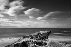 The Rock at Clashach (Geoff France) Tags: stone rock sea seaside shore beach clouds longexposure landscape scottishlandscape coast moraycoast hopeman wave