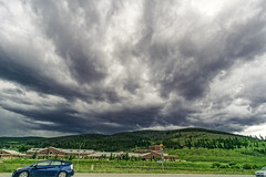 Dark Skies Overhead, 2015.07.13 (Aaron Glenn Campbell) Tags: unitedstates roadtrip excursion summitcounty summithighschool breckenridge colorado family relatives rental toyota camry vehicles traffic highway highway9 summer ominous overcast cloudy sky nikcollection viveza colorefexpro on1effects sony a6000 ilce6000 mirrorless rokinon 12mmf2ncscs wideangle primelens manualfocus emount