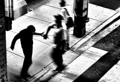 A Meeting (draketoulouse) Tags: chicago loop people street streetphotography friend blackandwhite monochrome bw contrast cta blue motion movement city urban