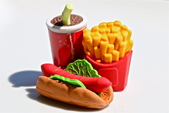 """Dining Al Fresco - Macro Monday - """"Erasers"""" (not beck) Tags: macromonday macro monday eraser erasers cola drink fries hot dog lunch snack"""