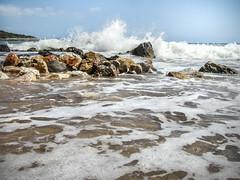 Splash! (.:barbarina:.) Tags: beach greece crete creta island sea mediterranean aegean sun rocks summer waves holiday vacations