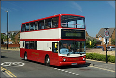 NXC4453 (Jason 87030) Tags: special traditional maroon cream doubledecker shops shopping village warwickshire midlands binley coventry 16a service route trident dennis nxc natiuonalexpress cov uk work july 2018 alx400 100 years centenary celbration transport bj03evc nice livery scheme