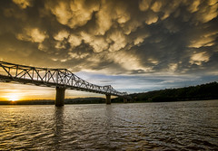 Mammatus Sunset (Bernie Kasper (4 million views)) Tags: art berniekasper bridge architecture color d600 digital effect family historic indiana jeffersoncounty light landscape madisonindiana madisonindianacliftyfallsstatepark nature nikon naturephotography new night outdoors outdoor old outside ohioriver photography park raw river reflection reflections travel summer sunset yellow orange