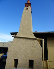 Grange. Adelaide. Fascinating style chimney on N'Kola Donga House built in 1912 in Californian bungalow style. (denisbin) Tags: aelaide grange beach esplanade house chimney fireplkace diningroom artdeco fireplace veranda nkoladonga scarfe
