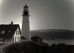 Wait for the sunrise (Patricia McAtee - Photos of Maine) Tags: daylight sunrise beacon lighthouse portlandheadlight capeelizabethmaine sea ocean