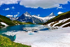 Refreshment at lake Bachalp (sylviafurrer) Tags: berge mountain mountainlake bergsee eis schnee snow ice frühling springtime landschaft landscape switzerland bernesealps berneroberland bachalpsee