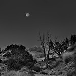 The Moon Just Over the Rise... (Black & White, Capitol Reef National Park) thumbnail