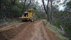Grading the fire trail (spelio) Tags: mt victoria nsw blue mountains australia winter bushwalk hike caterpillar grader