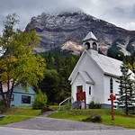 A White Church, Homes and a Mountain Backdrop (Field, BC; Yoho National Park) thumbnail