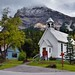 A White Church, Homes and a Mountain Backdrop (Field, BC; Yoho National Park)
