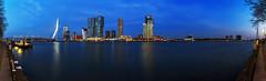 Rotterdam City Panorama (FH | Photography) Tags: rotterdam skyline city erasmusbrücke wolkenkratzer pano panorama blauestunde abends immobilien wahrzeichen sehenswürdigkeit hafen stadt europa niederlande maas brücke verkehr infrastruktur ufer promenade wasser