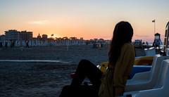 Rimini Beach (dino.jnsk) Tags: rimini sea see beach strand sand sands boat sunset sonnenuntergang red blue yellow italia italien italy meer