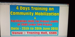 Training on Community Mobilization and Facilitation Skills for project staffs of Gyan S Eva Bharati Sansthan under SKN