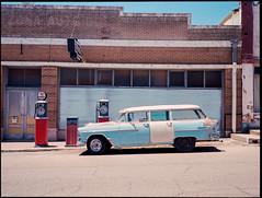 Glimpse of the Past (greenschist) Tags: mobilgas building 6x45 mediumformat car kodakektar100 bronicarf645 chevrolet film analog zenzanonrf65mmf4
