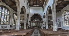 Inside the parish church (David Feuerhelm) Tags: nikkor church interior windows glass stainedglass stetchworth suffolk flags aisle nave nikon d750 1635mmf4