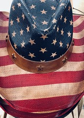 US Flag Cowboy Hat #jcutrer (joncutrer) Tags: jcutrer royaltyfree creativecommons straw strips stars independenceday 4thofjuly blue white red cowboyhat unitedstates patriotic america cowboy flag usa hat