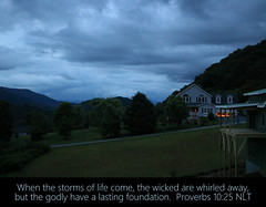 Balsam Mountains, Haywood County, North Carolina, Proverbs 10:25 (Humbly Serving Christ) Tags: northcarolina nc appalachia appalachianmountains blueridgemountains mountains us usa unitedstates america nature jesus christ god bible scripture verse haywoodcounty waynesville neighborhood houses homes storm clouds ominous weather blue dusk evening mountain trees dark residential