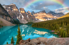 Moraine Lake, Banff (Meleah Reardon) Tags: morraine lake banff alberta national park canada sunrise sunset rainbow reflection trees mountain landscape nature beauty canadian rockies breathtaking teal sky clouds