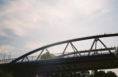 The guano bridge to Arena Island (knautia) Tags: riveravon bristolferry bristol england uk july 2018 film ishootfilm olympus xa2 olympusxa2 kodak kodacolor 200iso nxa2roll36 river avon ferry bridge arenaisland stphilips