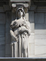Mysterious Woman Dame Spring Caryatid NYC 5423 (Brechtbug) Tags: mysterious woman dame spring caryatid stone ladies courthouse roof statues across from madison square park new york city atlantid 2018 nyc 07152018 art architecture gargoyle gargoyles statue sculpture sculptures facade figures column columns court house law government building lady women figure form far east buildings season seasons springtime