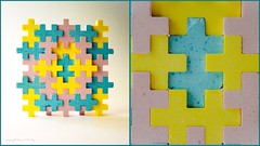Edible (Little Hand Images) Tags: candy puzzle pieces pink yellow blue sweets diptych edible