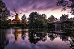 Reitbrooker Mühle (JetonAliji) Tags: hamburg deutschland windmills mills sunset longexposure reflection nature art goldenhour treees