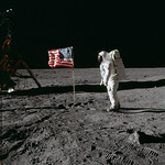 Astronaut Edwin E. Aldrin Jr., beside the deployed United States flag during an Apollo 11 extravehicular activity on the lunar surface. Original from NASA. Digitally enhanced by rawpixel. thumbnail