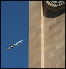 Air New Zealand passing City Hall= (Sheba_Also 43,000 photos) Tags: air new zealand passing city hall