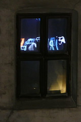 Writing in the Window (John of Witney) Tags: window neon reflection bucharest romania