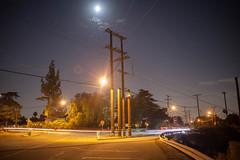 Intersection in Altadena (Space-wanderer) Tags: canon 5d nigh lighttrails streetlights moon powerlines longexposure california southerncalifornia altadena jpl nasa losangeles