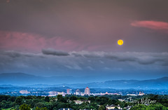 June Moon Morning Roanoke Valley (Terry Aldhizer) Tags: june moon morning twilight roanoke valley virginia clouds sky blue ridge mountains buildings city skyline terry aldhizer wwwterryaldhizercom
