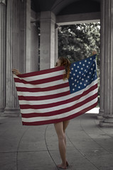 Behind the Flag (Luv Duck - Thanks for 13M Views!) Tags: select ali usa flag usflag americanflag americangirl allamericangirl 4thofjuly independenceday downtowndenver civiccenterparkdenver redhead redhair patriotic