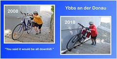 Ten years later, and still peddling. (Runemaker) Tags: patricia ybbsanderdonau ybbs cycling bicycling bicycle donauradweg danubecycleroute donau danube collage woman street strase cyclist fahrrad radfahren radeln austria österreich frau