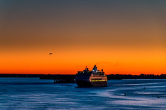 Morning Arrival (langdon10) Tags: canada canon70d navigation quebec ship shoreline stlawrenceriver cruiseship nautical outdoors sunrise