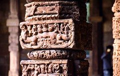 When History is Engraved in Stone....... (Soham.) Tags: stone history india heritage qutub minar sandstone engrave carving archaeology dof detailing redstone ancient d7000 pillar delhi old architecture art