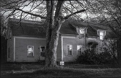 Drive-by (Bud in Wells, Maine) Tags: kennebunk maine bw building dilapidated house monochrome tree route1