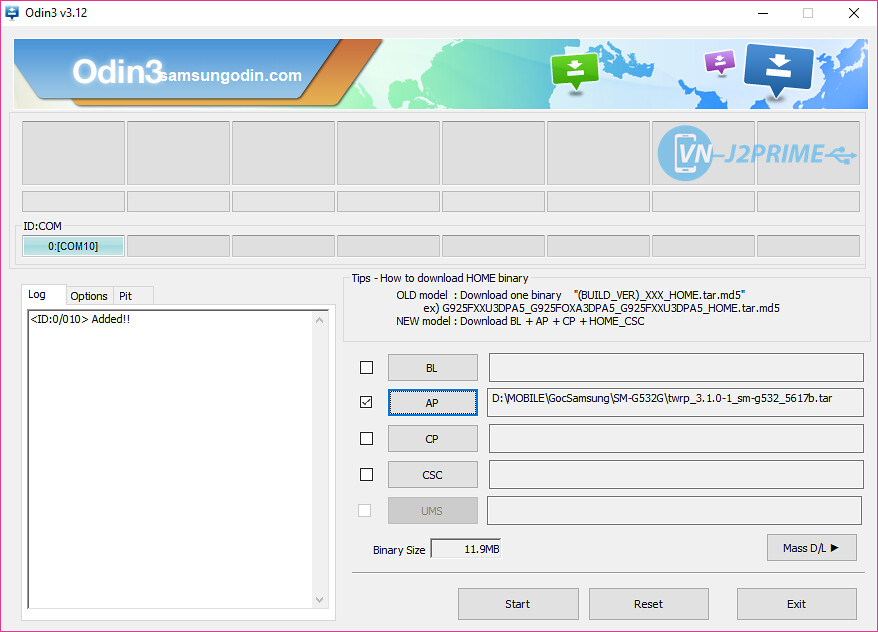 Duyệt file và flash TWRP cho J2 Prime
