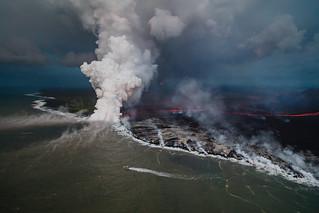 Hawaii Kilauea Volcano Lava Boat Tour Laze Aerial 1