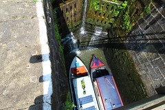 Ready to raise the barges (jdathebowler Thanks for 2.6 Million + views.) Tags: greatphotographers bingleyfiveriselocks leedsliverpoolcanal canalandrivertrust barges lock towpath canal lockgates narrowboats