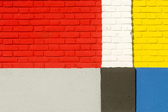 Bricks with Mondriaan colors (Jan van der Wolf) Tags: map183176v gevel facade bricks bakstenen red rood yellow geel black zwart white wit grey wall muur simple composition compositie colors colours kleuren mondriaan denhaag