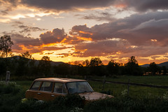 Sunset for an old Lada wreck (aasar) Tags: lada carwreck car norway