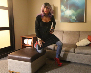 Cortney in Chicago - Shadows and Light - Lavender hair with Red Hot Hooker CFM heels