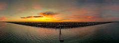 Seaford Sunrise Panorama (Thunder1203) Tags: adobecc australia beachesofaustralia earlymorning morningtonpeninsula panorama photomerge seaford seafordpier seascape sunrise victoria aerialphotography colourful dawn djiaustralia djiglobal djimavicpro dronelife dronephotography droneshot misty portphillipbay travel