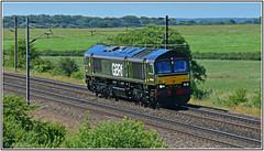 66779 with Nookie Bear at the controls of GBRf Evening Star (Mark's Train pictures) Tags: 66779 eveningstar nookiebear 0y66 gbrf gbrailfreight eastcoastmainline ecml coltonjunction colton nrm shildon lightengine class66 class66shed
