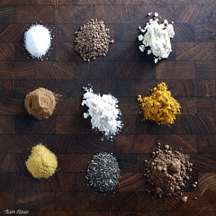 Ingredients (Tyson J) Tags: ingredients tyson fuji streaklight wood cuttingboard fresh flax chiaseeds turmeric salt flour cocoa cooking eating food