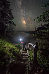 Midnight Explorer at Little Hunters Beach (Mike Ver Sprill - Milky Way Mike) Tags: little hunters beach acadia national park maine travel milky way mike galaxy universe stars single exposure nikon d810 1424 usa landscape nightscape nightscaper chaser long starry night sky bar harbo harbor cove