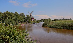 Greetsiel -1 (yorkiemimi) Tags: germany deutschland river mill mühle fluss scenery landscape landschaft water wasser sky