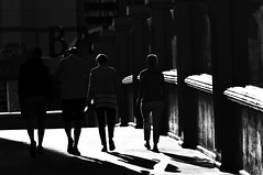 Getting Started !!! (imagejoe) Tags: vegas nevada street strip black white photography photos shadows reflections tamron nikon people