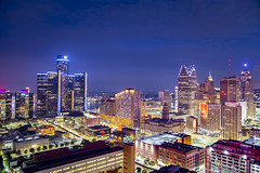 Detroit is hot (Notkalvin) Tags: detroit skyscrapers building buildings skyline cityscape urban notkalvin mikekline notkalvinphotography night bluehour longexposure michigan motorcity revival growth usa motown rooftop fromaroof rencen renaissancecenter gm generalmotors ally allybank