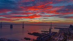 Burning Sky - San Francisco Bay (davidyuweb) Tags: burning sky san francisco bay sanfrancisco bridge ferry building sunrise water luckysnapshot 三藩市 sfist